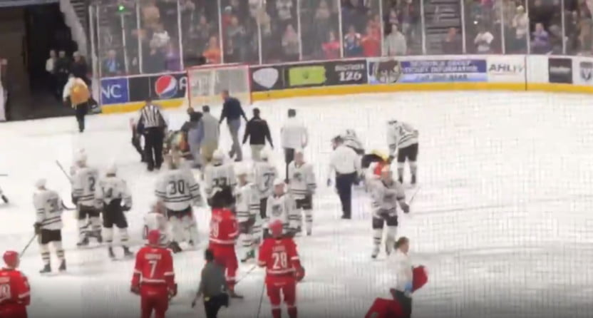 Kale Kessy of the Hershey Bears was stretchered off following a Feb. 25, 2020 fight.