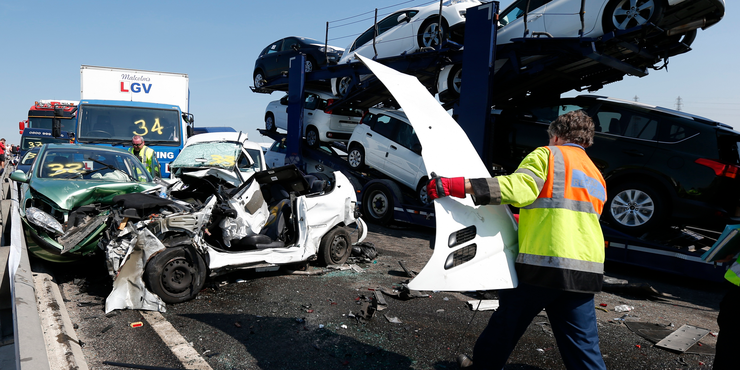 100-car pileup kent uk bridge traffic car crash accident