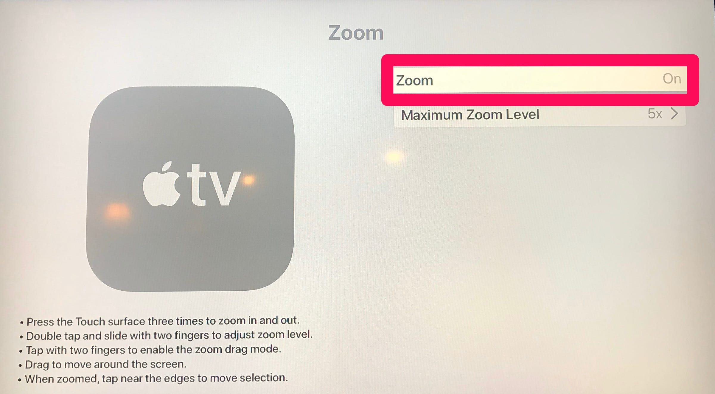 How to zoom out on Apple TV