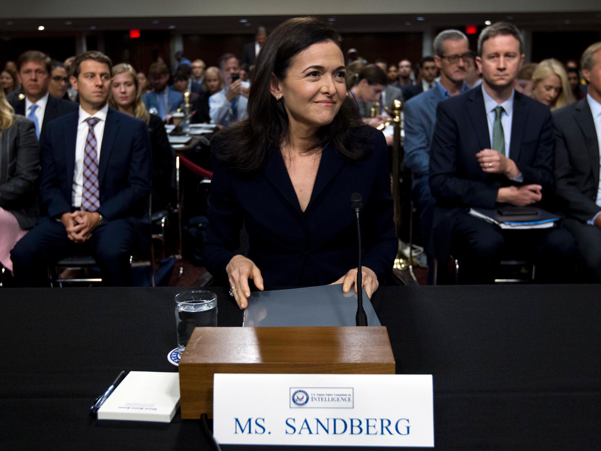 sheryl sandberg senate intelligence committee 2016 election