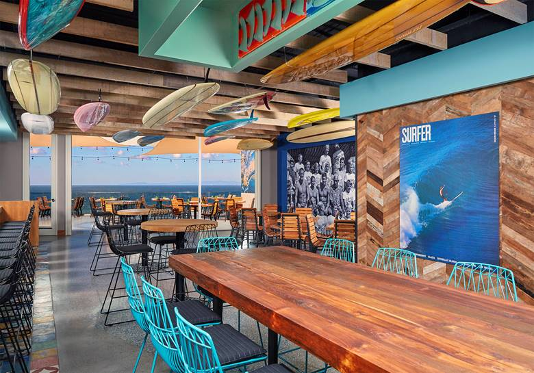 Festive surfer-themed interior of Duke's La Jolla.