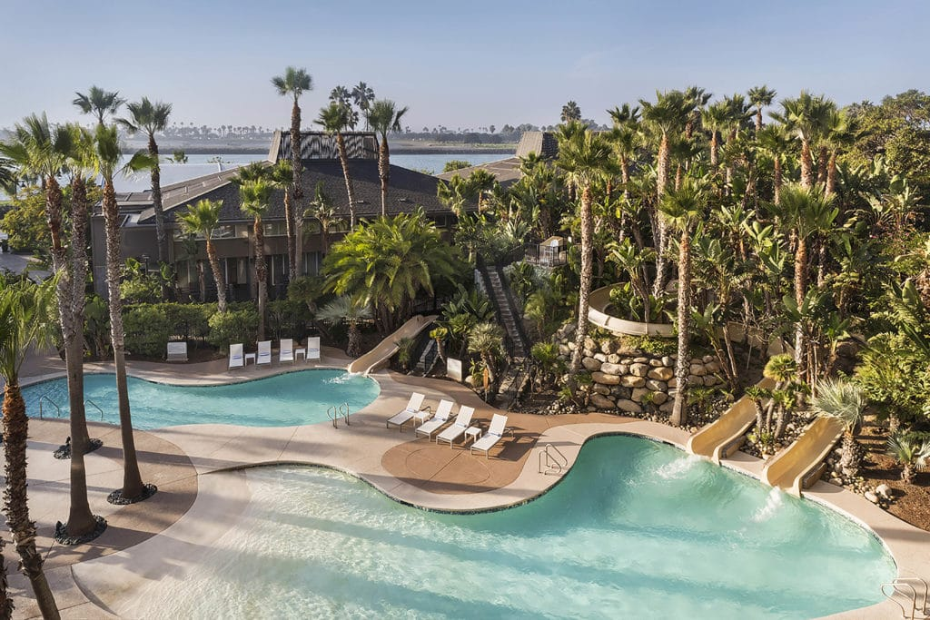 Two of the three pools and three water slides at Hyatt Regency Mission Bay Spa and Marina near SeaWorld San Diego.
