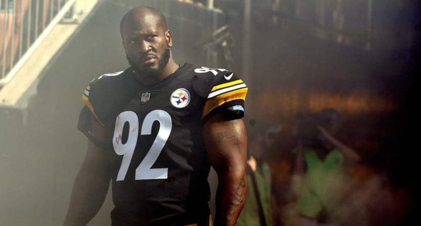 James Harrison with the Steelers.