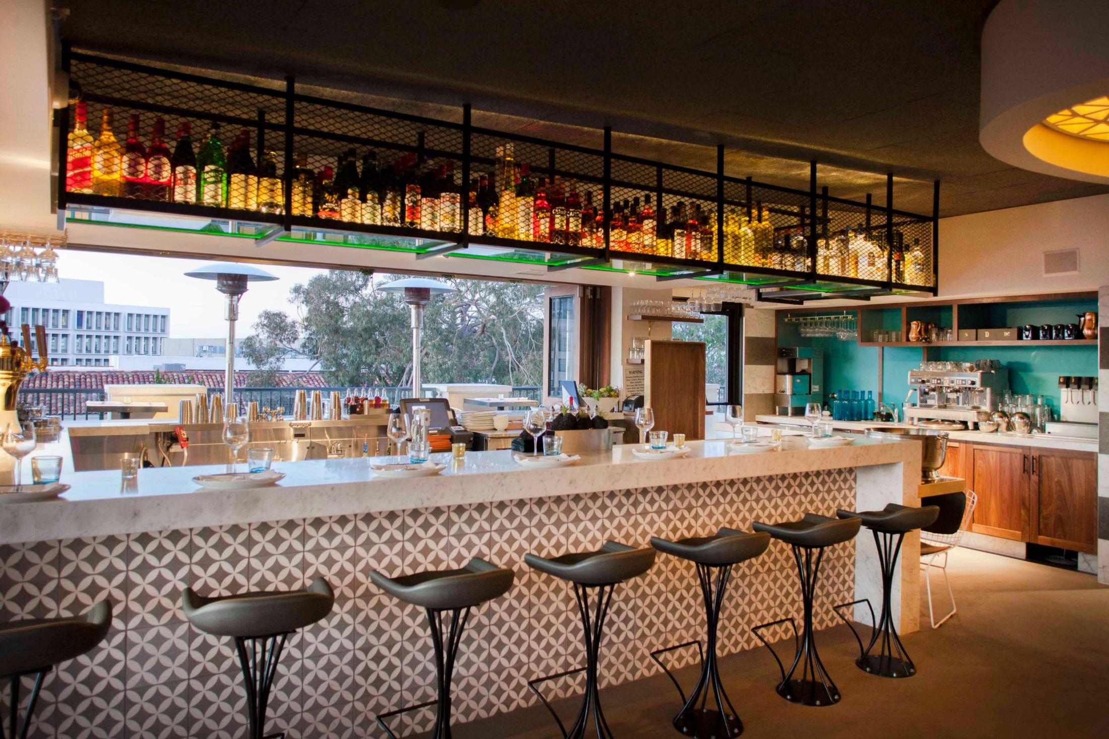The bar area at Catania in La Jolla.