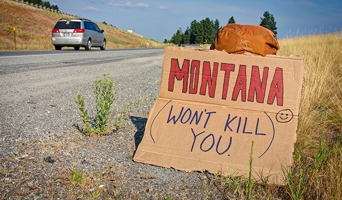 Funny hitchhiking sign from the USA