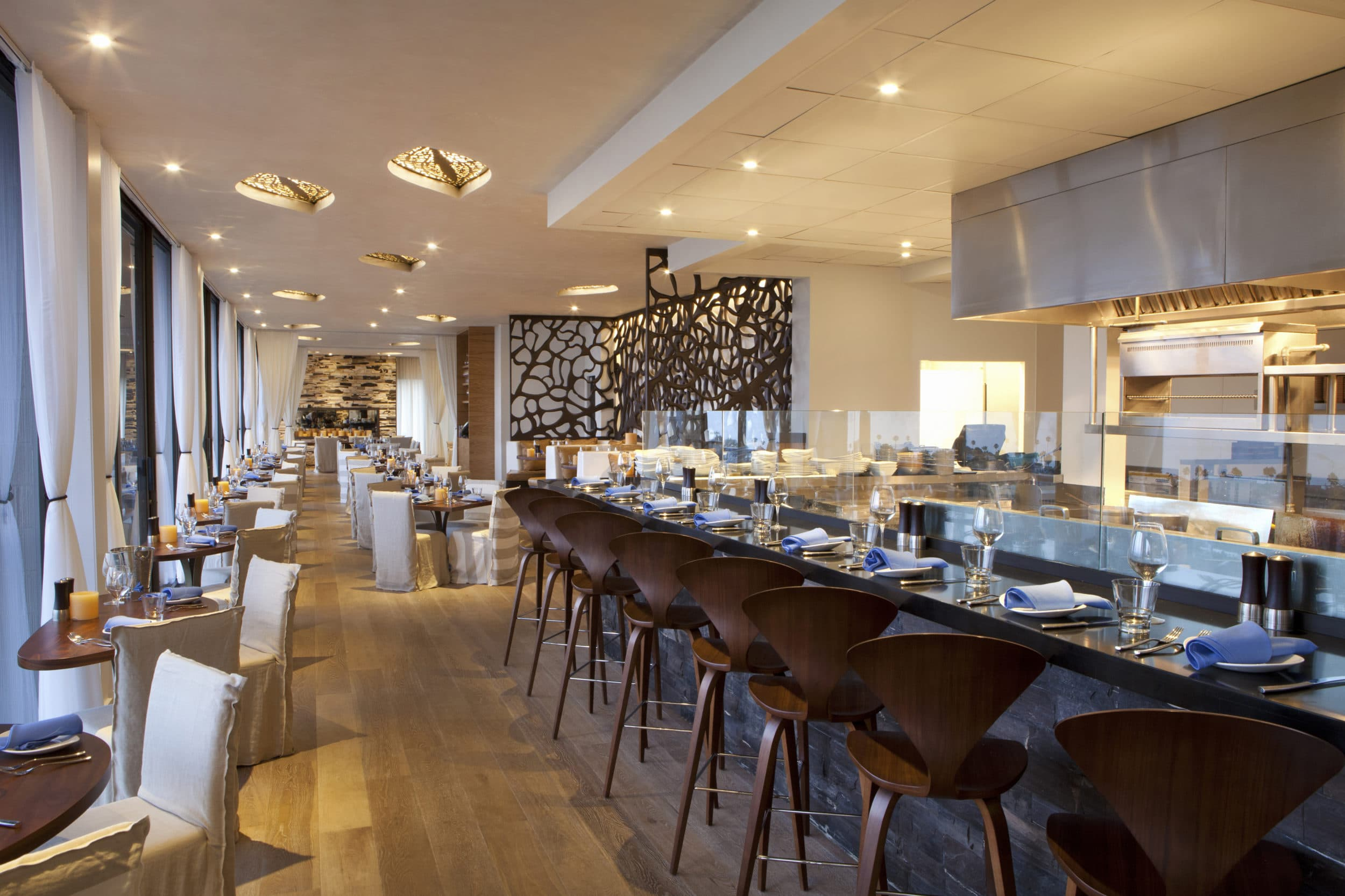 Contemporary interior of CUSP Dining and Drinks inside Hotel La Jolla.
